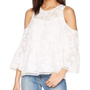 Lucky White Lace Cold Shoulder Top